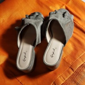 Qupid suede no back low heels